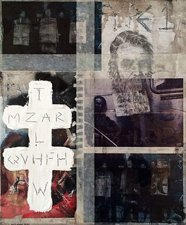 Zavier Ellis 'Type 1 Apostle II', 2014 Acrylic, oil, pencil, paper, acetate, tape, street poster on linen 30x25cm