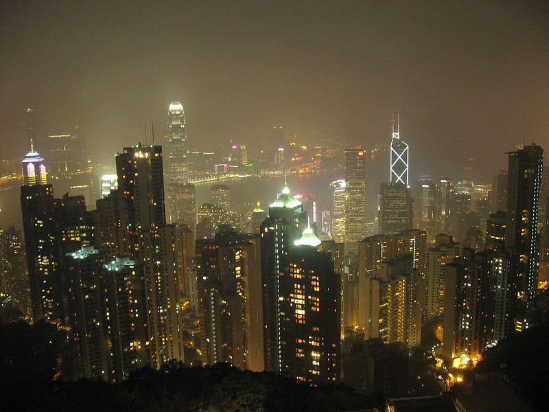 Hong Kong skyline seen at night