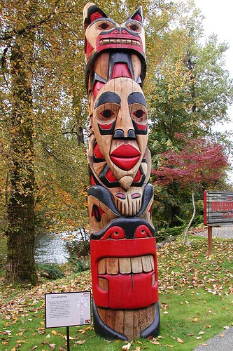 Totem Pole at Quw'utsun' Cultural & Conference Centre, Duncan, Vancouver Island, British Columbia, Canada