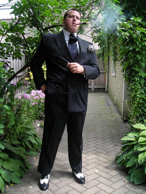 Black Double-Breasted Pinstripe Suit 2