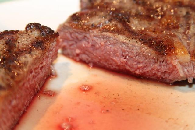 Medium-rare Delmonico steak