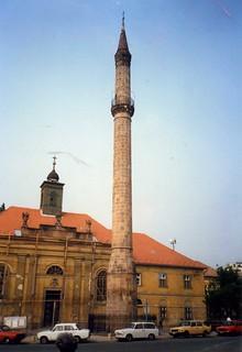 Eger. Minaret with Trabants, May 1988
