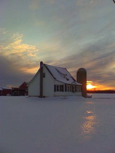 winter sunset snow ice farmhouse rural glow michigan farm country silo ag february agriculture raytownship
