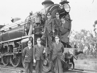Crew of the royal train for the Duke of Gloucester and 36 class locomotive, Orange, 27 November 1934 / Sam Hood | by State Library of New South Wales collection