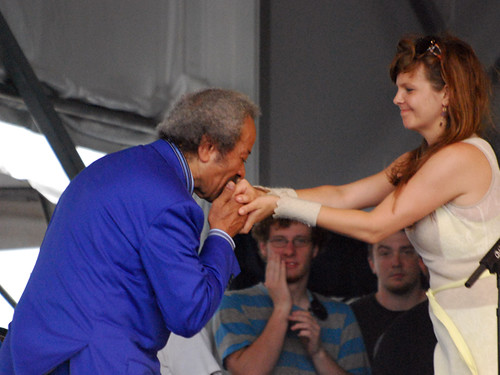 Allen Toussaint shows his appreciation to Theresa Andersson on the Acura Stage Friday May 1