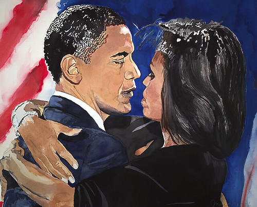 Judy North Obama Watercolor, unframed. Manifest Hope D.C Inauguration show.