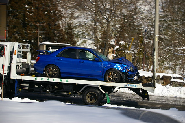 Crashed Impreza in the snow