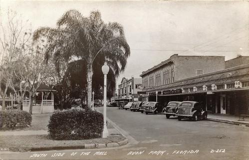 park street cars town 1930s downtown florida postcard gazebo automobiles commercialbuildings avonpark