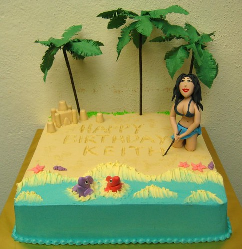 Excellent Busty Bikini Girl A Beach Themed Birthday Cake For A Guys Flickr Funny Birthday Cards Online Kookostrdamsfinfo