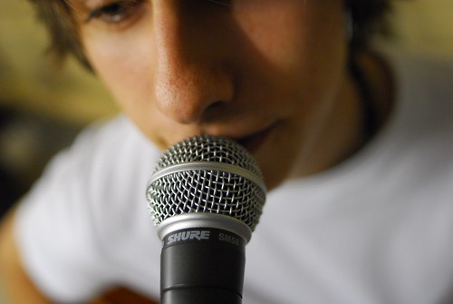 Singer with microphone | by DavidMartynHunt