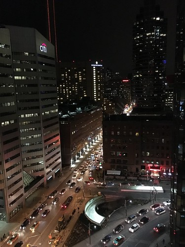 streets buildings cars traffic lights night toronto cities
