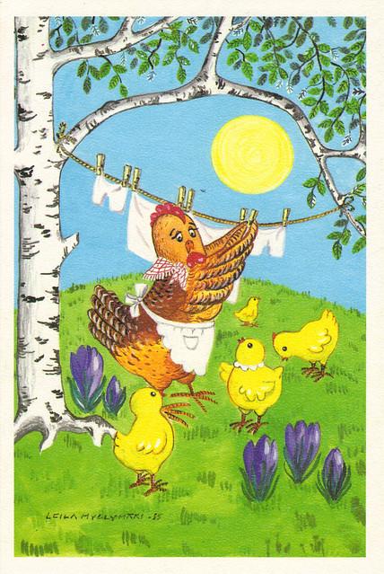 Cartoon Hen & Chicks Postcard