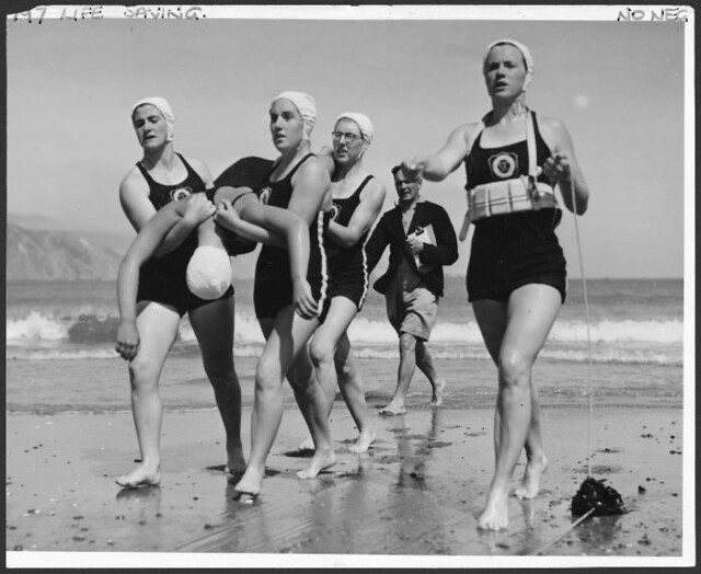 St Clair (Dunedin) life-saving team competing in an event. 1944.