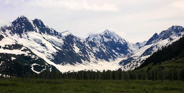 View of the Chugach Range from an Alaska Railroad car