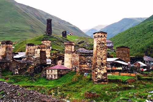 Second Village, With King Tamar's Black Tower, Ushguli, Svaneti, Georgia