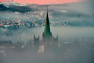 Nidaros Cathedral shrouded in mist | by Christian Haugen