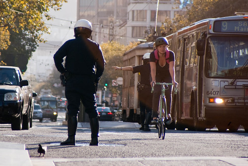 09573 Day 2: Private vehicles turn onto 6th St., bike and bus proceed ahead | by sfbike