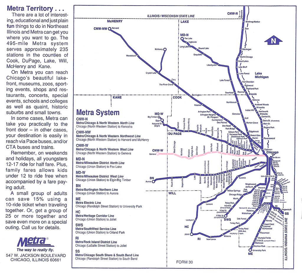 Metra map, spring 1995 | I\'m hardly an expert on Metra and C ...