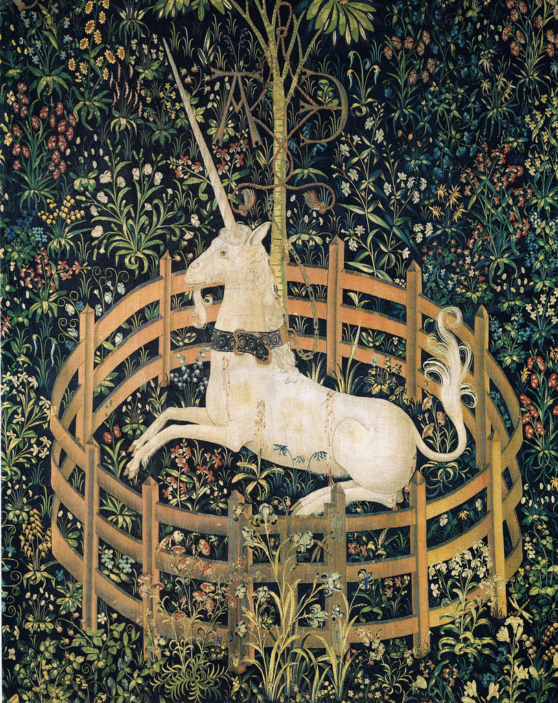 Tapestry no. 7: The Unicorn in captivity (detail)