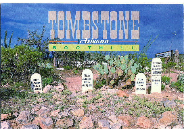 U S A  state postcard- Tombstone, Az  | Famous grave markers