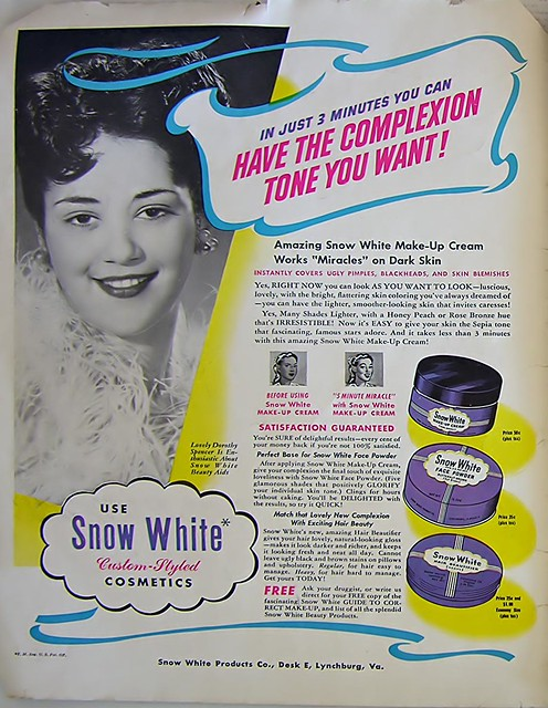 Advertisement for Snow White Cosmetics - Ebony Magazine, June, 1948
