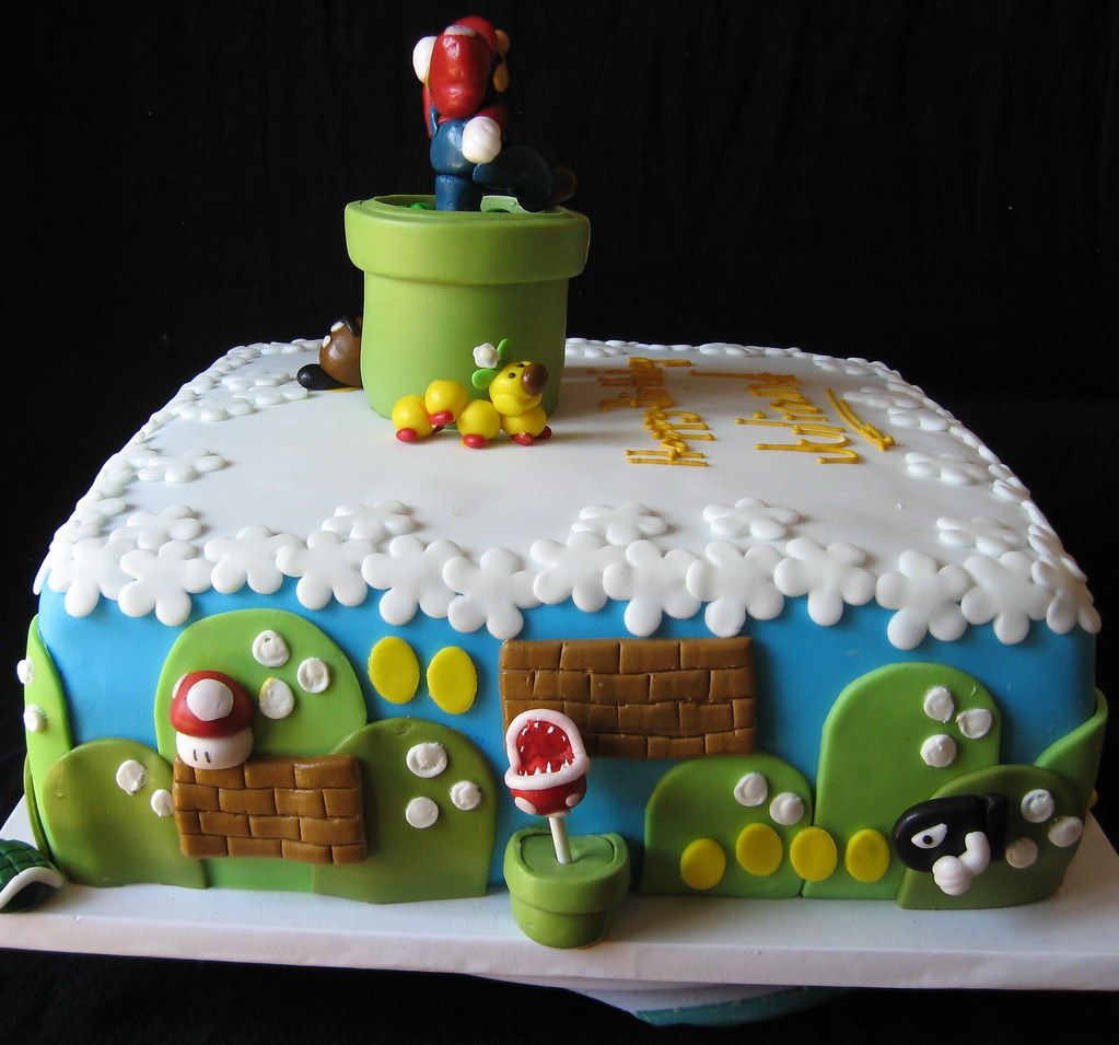 Awe Inspiring Super Mario Brothers Themed Birthday Cake With Fondant Det Flickr Funny Birthday Cards Online Bapapcheapnameinfo
