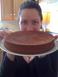 Val presenting chocolate flourless cake   by ianandval