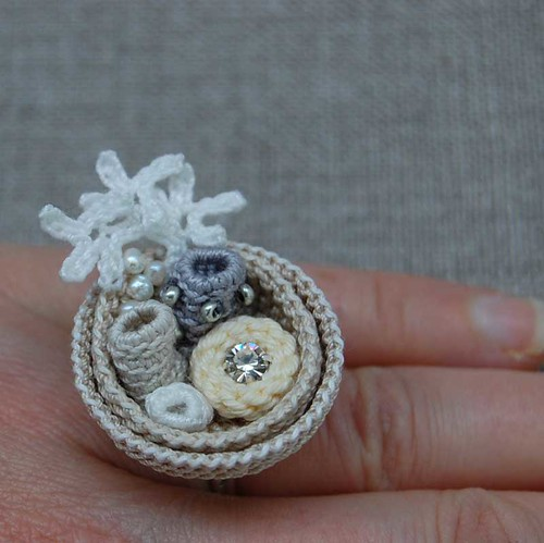 White and cream crochet ring   by ELINtm