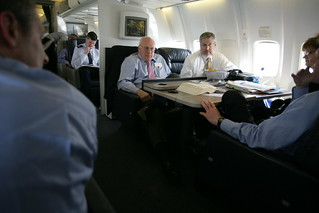 Vice President Cheney Talks with John McConnell While David Addington and Debbie Heiden Listen Aboard Air Force Two