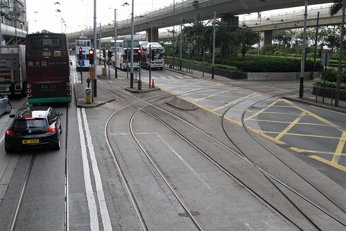 Westbound at the junction leading to the Whitty Street Depot