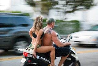 South Beach, Miami, muscle woman, muscle man, tatoo, tattoo, scooter, motorcycle, man, woman, muscle, swoll, swole, swol   by 2sonik