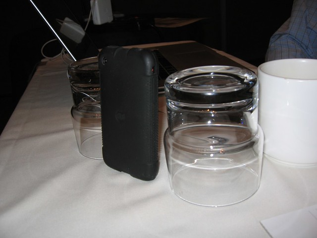 Jeff Nolan's novel use of conference room drinkingware for a iPhone camera stand.  He was streaming.