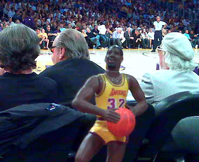 Travelling Magic Johnson court side (with Jack Nicholson and Lou Adler) at Lakers game