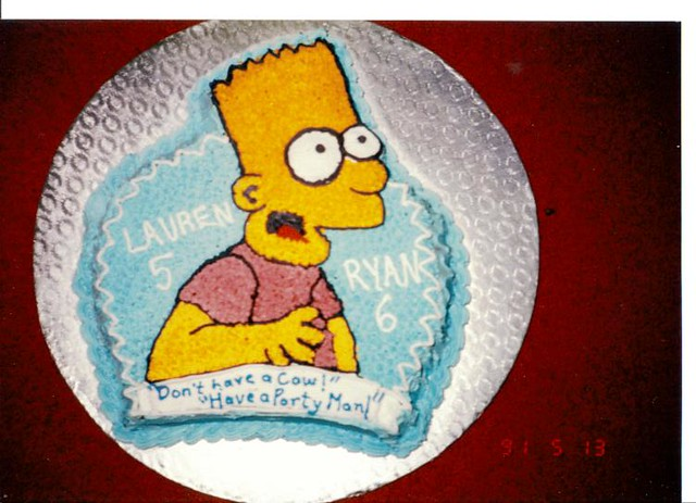 Fantastic Ryan And Laurens Bart Simpson Birthday Cake Crazycook Flickr Personalised Birthday Cards Veneteletsinfo