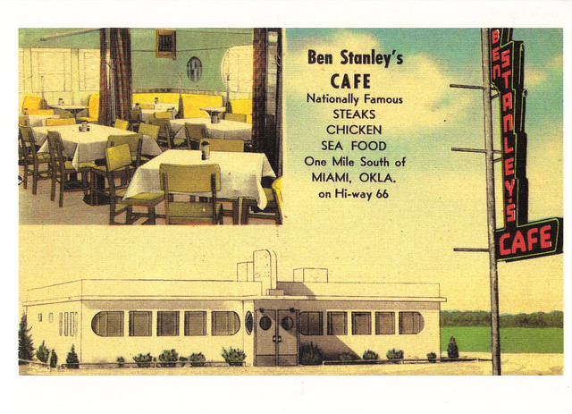 Route 66 Ben Stanley's Cafe Postcard