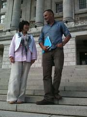 Margaret McGuckin and Bernard Taggart of SAVIA at Parliament Buildings