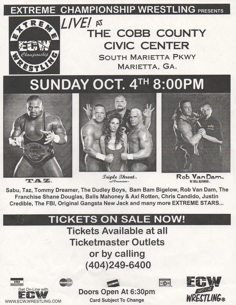 ECW Show Flyer - Cobb County Civic Center 1998 | You better … | Flickr