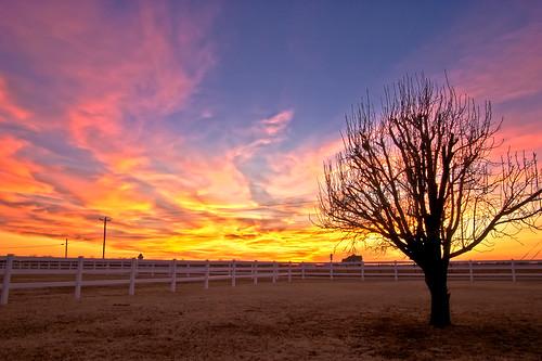 pink blue sunset red sky orange sun oklahoma silhouette set clouds pentax super hdr k100d justpentax