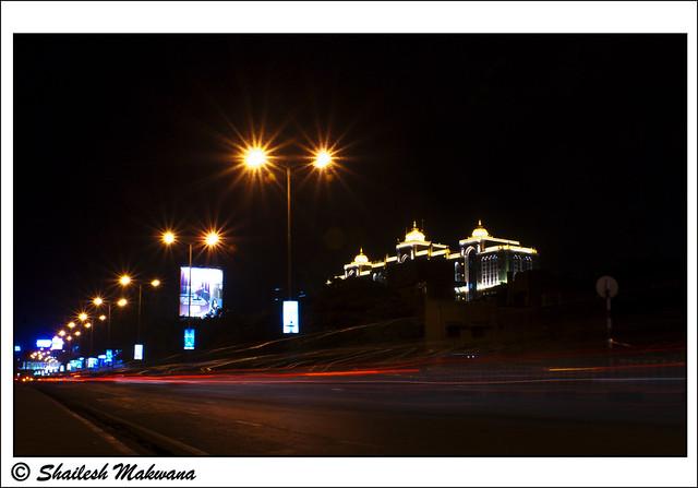 Car trail light trail, Saifee Hospital architecture in light
