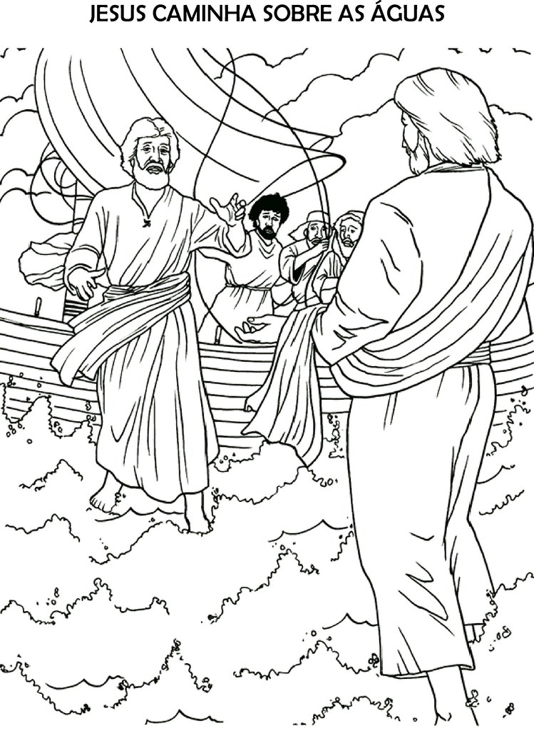 Jesus Caminha Sobre As Aguas Para Colorir Catequese Santa
