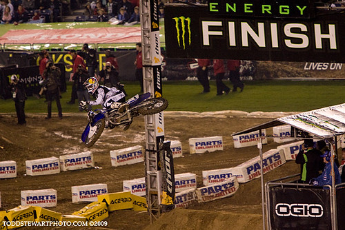 James Stewart over the finish line jump