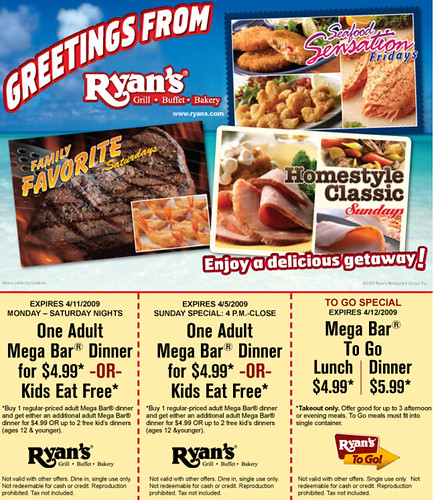 graphic about Ryans Printable Coupons titled Meal) Ryans Buffet Printable Cafe Discount coupons Flickr