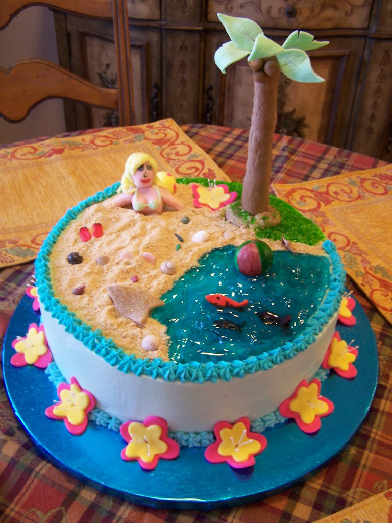 Awe Inspiring Beach Birthday Cake Made For My 17 Year Old Daughter For H Funny Birthday Cards Online Necthendildamsfinfo