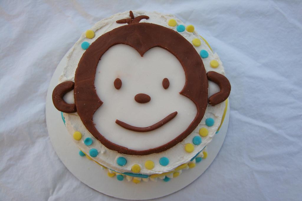 Swell Mod Monkey Cake For 1St Birthday Vanilla Cake With Vanilla Flickr Funny Birthday Cards Online Kookostrdamsfinfo