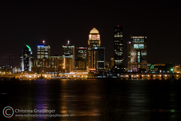 Typical Skyline of Louisville, Kentucky at Night
