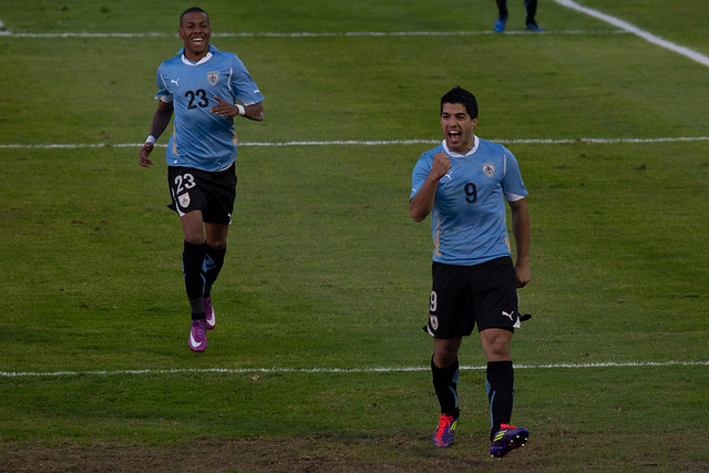 Luis Suarez celebrates his Gol to put Uruguay 1 - Netherlands 0 - Take 2 | 110608-6714-jikatu