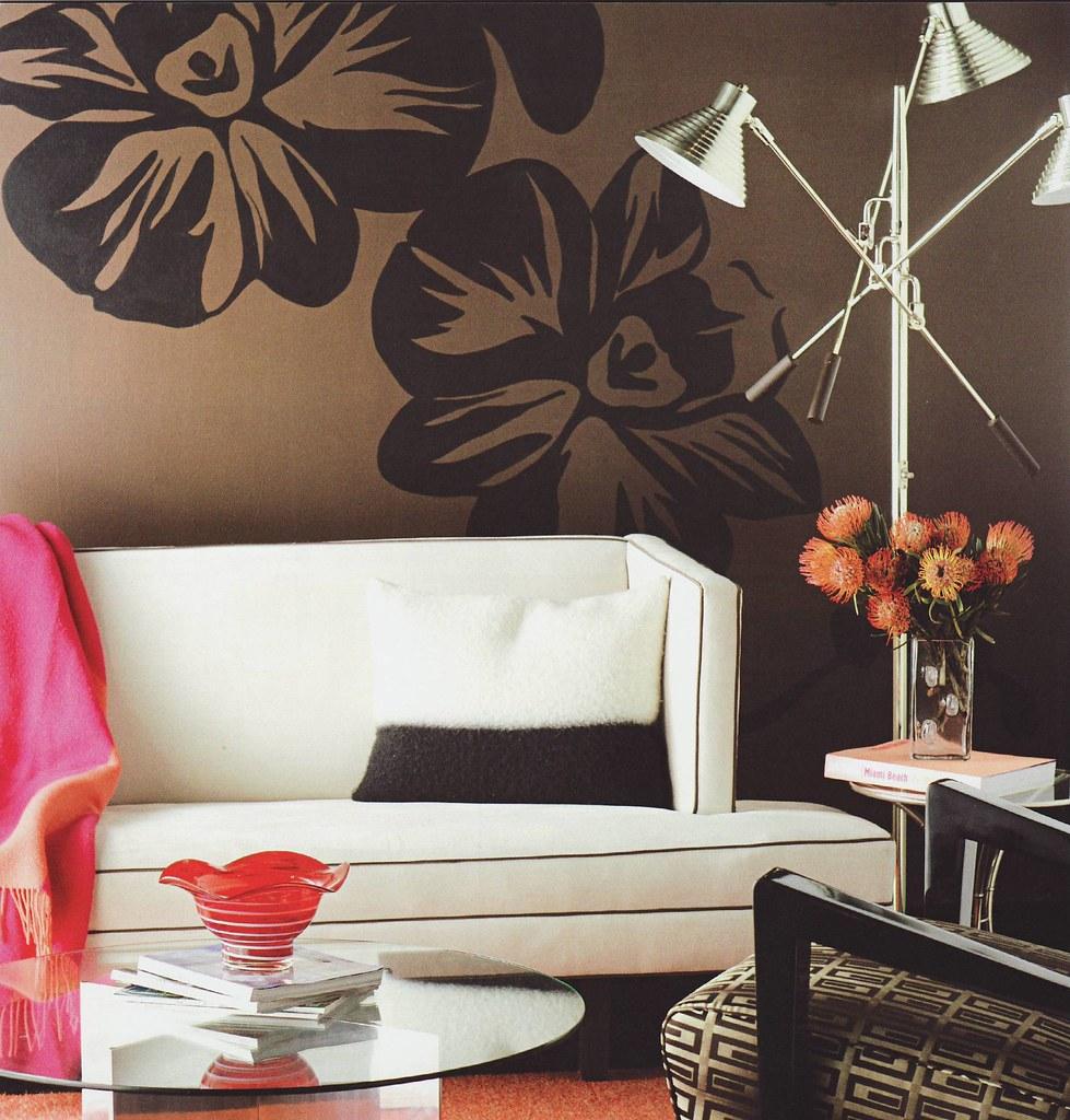 Modern Living Room Dark Brown Black Graphic Stencil W Flickr