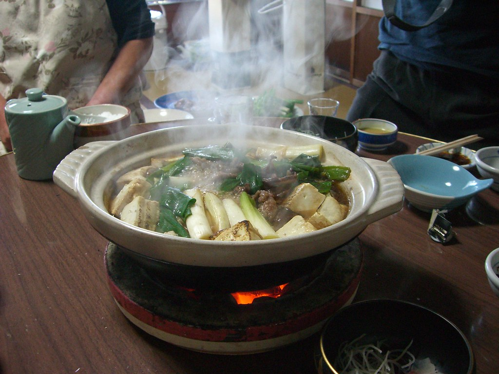 Japanese cuisine; steamboat dishes, hot pot, duck meat; Kamo nabe; 鴨鍋