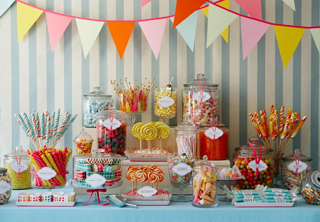 multicolored candy buffet