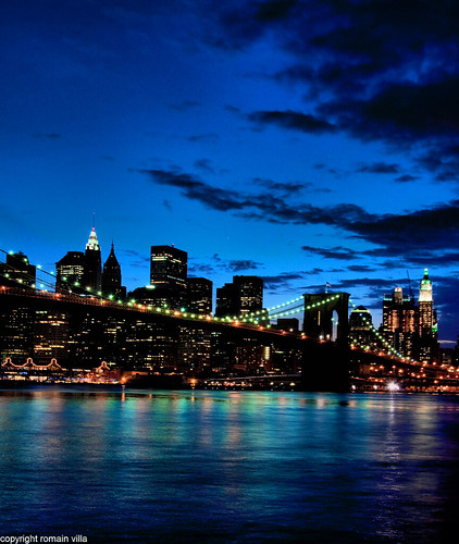 new york city nyc bridge light ny newyork skyline brooklyn night america buildings reflections nikon skyscrapers shot d manhattan united villa pont states nuit reflets romain dri lumieres ciels gratte immeubles etatsunis batiments d90 amerique romainvilla romvi